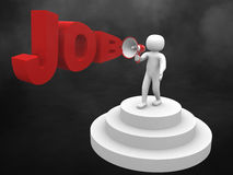 3dperson con un job di parola e del megafono Fotografie Stock