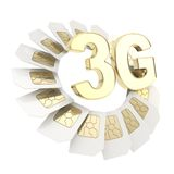 3G circuit microchip SIM card emblem isolated Royalty Free Stock Images