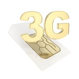 3G circuit microchip SIM card emblem isolated Royalty Free Stock Image