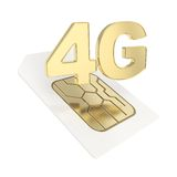 3G circuit microchip SIM card emblem isolated Royalty Free Stock Photography