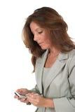 使用妇女的3企业pda 免版税图库摄影