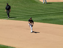 3rd baseman Kevin Kouzmanoff throws hard to 1st Royalty Free Stock Image