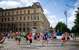 3rd km of Prague International Marathon. 2012 Stock Photos