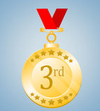 3rd Position Medal. Third Place Medal Illustration on Blue Background Stock Images