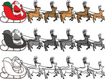 3SantaSleighReindeer. 3 illustrations of Santa Claus in a sleigh with reindeer. Color or black and white deal for promotions or greeting cards Stock Photography