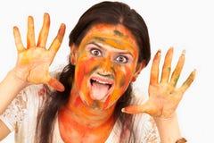 3Sul da Ásia que tem o divertimento com cores Imagem de Stock