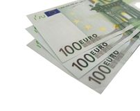 3x 100 Euro (geïsoleerde) rekeningen Royalty-vrije Stock Afbeelding