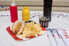 4ème du repas de hot dog de juillet Photo stock