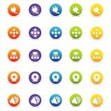4个五颜六色的图标导航万维网 库存照片