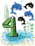 4个动物海豚编号海运系列 免版税图库摄影