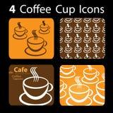 4个咖啡杯图标 免版税库存照片