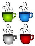 4个咖啡杯热茶