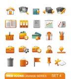 4个图标橙色系列集合万维网 免版税库存照片
