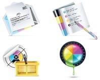 4个图标零件打印集合界面向量 免版税图库摄影