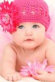 4个大婴孩美好的女孩的月 免版税库存图片