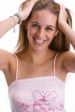 4个女孩微笑 免版税库存图片