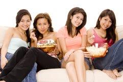 4个女孩晚上 免版税库存图片