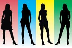 4个女孩被设置的剪影 免版税库存图片