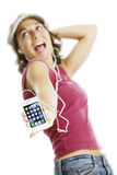4个女孩iphone唱歌白色 免版税库存图片