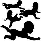 4个婴孩剪影 皇族释放例证