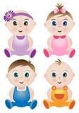 4个婴孩逗人喜爱的集 库存例证
