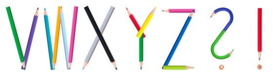 4个字母表铅笔 免版税库存图片