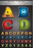 4个字母表颜色抚摸样式 免版税库存照片