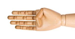 4个手指递人力木 库存图片