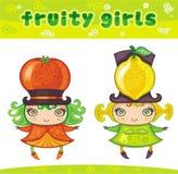 4个水果的女孩系列 免版税库存图片