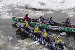 4个独木舟冰赛跑 库存照片