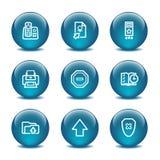 4个球玻璃图标设置了万维网 免版税库存图片
