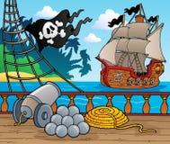 4个甲板海盗船主题 图库摄影