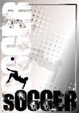 4个背景海报银足球 向量例证