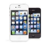 4个苹果黑色iphone查出的白色 库存图片