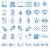 4个蓝色图标贴纸万维网 免版税图库摄影