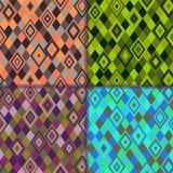 4个颜色几何模式菱形 免版税库存照片