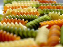 4个颜色fusilli意大利面食三 库存照片