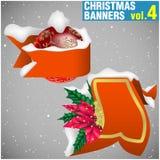 4副横幅圣诞节卷 免版税库存照片