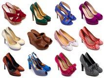 4双女性多彩多姿的鞋子 免版税库存图片