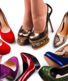 4双行程鞋子 库存图片
