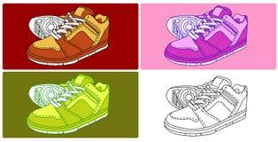 4双鞋子向量 免版税库存图片