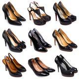 4双黑暗的女性鞋子 免版税库存照片