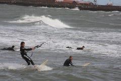 4只风筝海浪 图库摄影