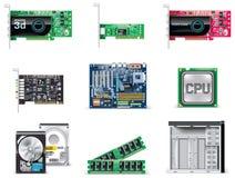 4台计算机图标零件集合向量白色 库存图片