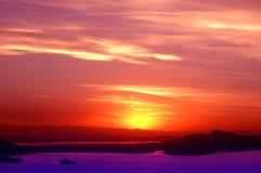 4在秘鲁日落titicaca的湖 免版税库存照片