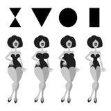 4基本的妇女形象模式 免版税库存照片