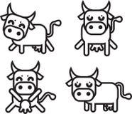 4头母牛图标集 图库摄影