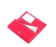 4女性货币开放钱包红色 免版税库存照片