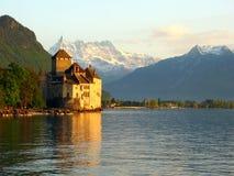 4座城堡chillon瑞士 免版税库存图片