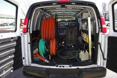 4张地毯清洁有篷货车 库存图片